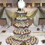 a Green Flowers Cupcake Tower