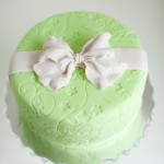 Fondant birthday cake with an edible bow