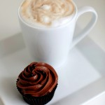 Cappuccino and a tripple chocolate cupcake